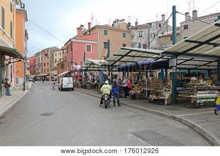 ROVINJ CROATIA - OCTOBER 15: Farmers Market in Rovinj on OCTOBER 15 2014. People at Green Market in Rovinj Croatia.