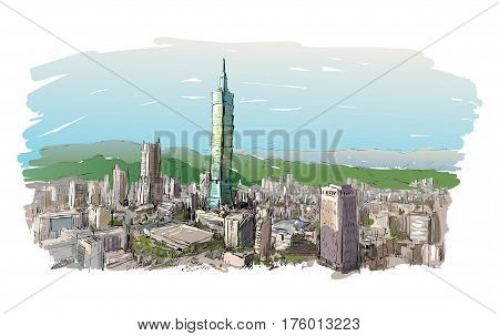 sketch of cityscape show townscape in Taiwan Taipei building illustration vector