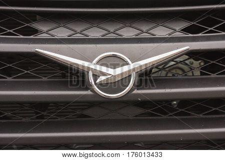 Kazan, Russia - February 21, 2017 Sign of automobile car UAZ, close up