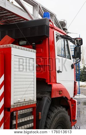 Cabin of Fire truck - big red Russian fire fighting vehicle, vertical