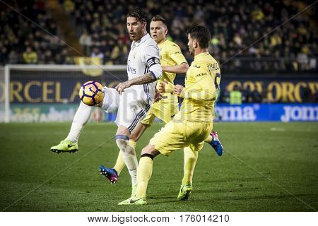 VILLARREAL, SPAIN - FEBRUARY 26: Sergio Ramos with ball during La Liga match between Villarreal CF and Real Madrid at Estadio de la Ceramica on February 26, 2017 in Villarreal, Spain