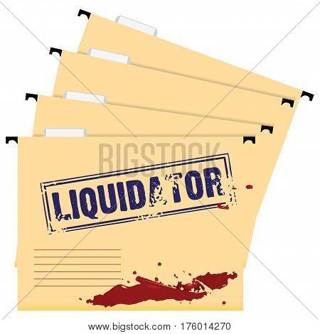 A set of folders marked Liquidator. Stamp on the folder.