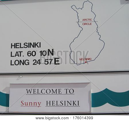 HELSINKI, FINLAND - AUGUST 6, 2005: Sign in Port of Helsinki, Finland. It is is Finland's main port, specialized in unitized cargo services for Finnish companies engaged in foreign trade.