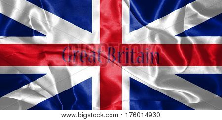 Great Britain Flag King's Colours. Civil And State Ensign With Country Name On It 3D Illustration