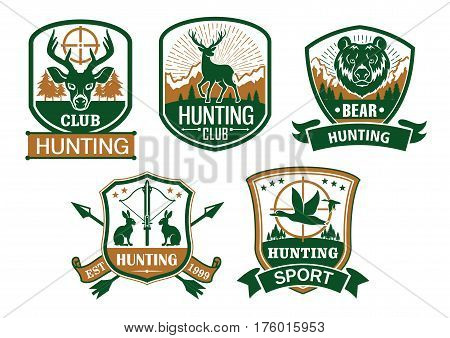 Hunting club icons. Hunter sport symbols of with wild animals deer or elk, grizzly bear, rabbit or hare and ducks. Hunt adventure vector badges and ribbons with guns, riffles and crossbow