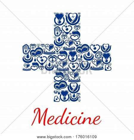 Medical cross symbol or medicine poster. Vector heart cardiology medications and blood donation concept. Donor health design with cardio healthcare items of heart pulse and human helping hand