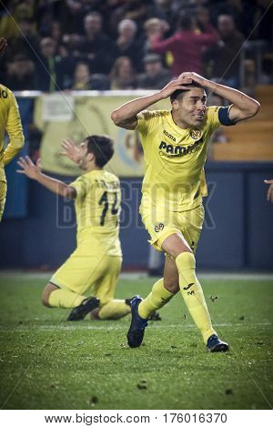 VILLARREAL, SPAIN - FEBRUARY 26: (R) Bruno during La Liga match between Villarreal CF and Real Madrid at Estadio de la Ceramica on February 26, 2017 in Villarreal, Spain