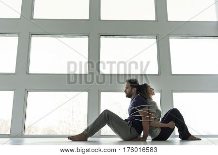 Life related with conflicts. Binding upset man and woman are on floor