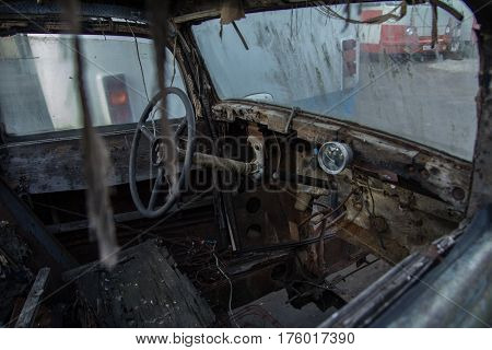 Moscow Russia - 7 Sept 2014: Interior of a waiting restoration Horch at a car parking outdoor of the Museum of Industrial Culture. .