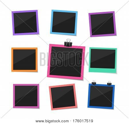 Remember every moment. Flat vector retro photo frames hanged with paper clip. Colorful instant photo frame collection. Empty photo on white ground.