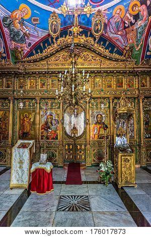 JERUSALEM, ISRAEL - MAY 24, 2016: Greek orthodox church of Saint John the Baptist interior, place of praying and peace.