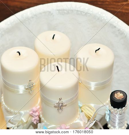 Candles during orthodox christening baptism. Orthodox church