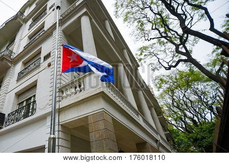 Buenos Aires Argentina - Nov 26 2016: Flag of Cuba at half-mast at the Embassy of Cuba in Buenos Aires Argentina.