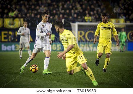 VILLARREAL, SPAIN - FEBRUARY 26: Cristiano Ronaldo with ball during La Liga match between Villarreal CF and Real Madrid at Estadio de la Ceramica on February 26, 2017 in Villarreal, Spain