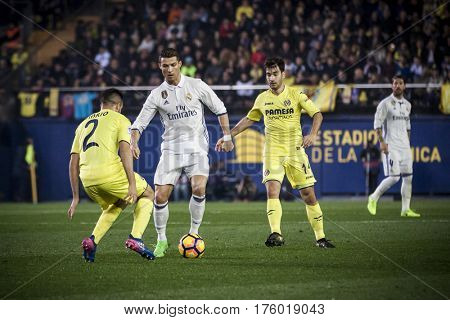 VILLARREAL, SPAIN - FEBRUARY 26: Cristiano Ronaldo with ball during La Liga match between Villarreal CF and Real Madrid at Estadio de la Ceramica on February 26, 2017 in Villarreal, Spain