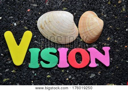 word vision on a abstract colorful background