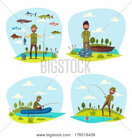 Fisherman on fishing with fish catch. Fisher man with beard catching pulling out with rod or scoop net in inflatable boat on lake. Fishery hobby or outdoor adventure