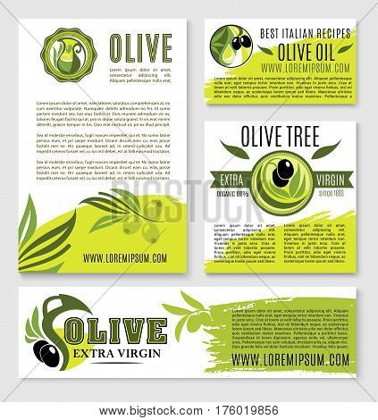 Olive oil nutrition and cooking recipes vector templates or posters for Italian cuisine. Olive products design for extra virgin oil bottle label or organic vegetable store or farm market