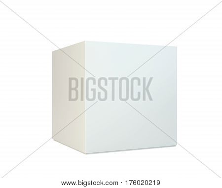 White package box isolated on white background. 3d rendering