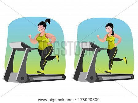 Simple cartoon of a woman jogging, before and after exercise concept