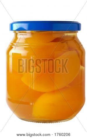 Glass Jar Of Preserved Peaches (1) With Clipping Path