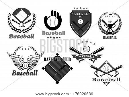 Baseball icons of baseball glove and pin for sport club or championship tournament. Victory award symbols of vector winner cup goblet wings, heraldic ribbon and laurel wreath with crown and stars poster