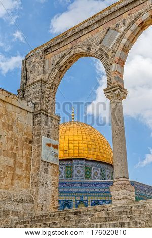 Ancient architecture of the Dome of the Rock, an Islamic shrine located on the Temple Mount in the Old City Jerusalem, Israel.