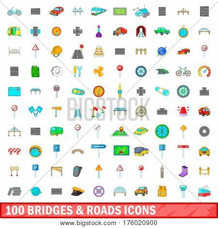 100 bridges and roads icons set in cartoon style for any design vector illustration