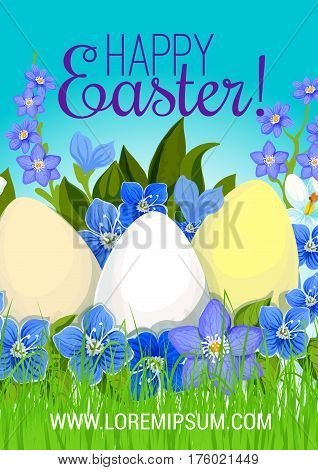Happy Easter poster of paschal eggs in spring crocuses flowers bunch on green meadow grass. Vector springtime holiday greeting card design template for Happy Easter Holy Week religion celebration