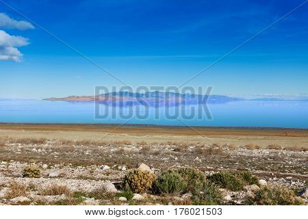 Beautiful view of Great Salt Lake at sunny day, Utah, America