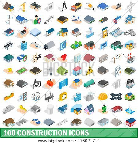 100 construction icons set in isometric 3d style for any design vector illustration