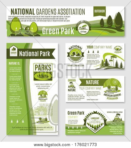 Green gardening and nature environment association vector business templates set of business card, posters and landing page. Park and garden horticulture planting service