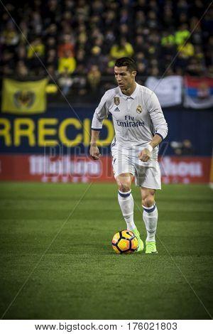 VILLARREAL, SPAIN - FEBRUARY 26: Cristiano Ronaldo during La Liga match between Villarreal CF and Real Madrid at Estadio de la Ceramica on February 26, 2017 in Villarreal, Spain