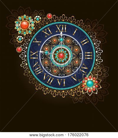 Round jewelry clock decorated with beads and semiprecious stones in ethnic style. Boho Style. Ethnic pattern. Antique clock.