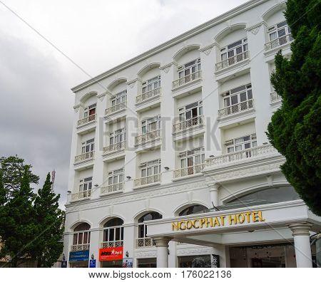 Facade Of Ngoc Phat Hotel In Dalat, Vietnam