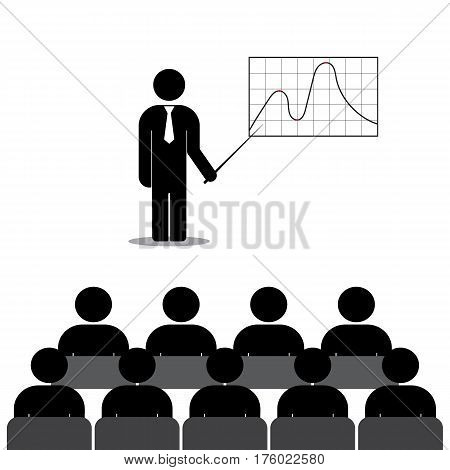 Business simple flat icon. Man shows on a blackboard financial graphs and charts. Stock vector illustration.