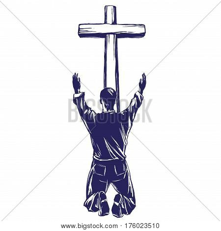 man praises God for the forgiveness of his sins, crucified on the cross symbol of Christianity hand drawn vector illustration sketch