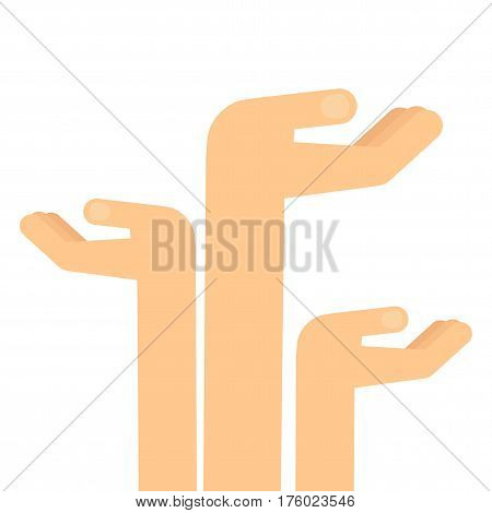 Hands are raised up for alms. Flat vector cartoon illustration. Objects isolated on a white background.