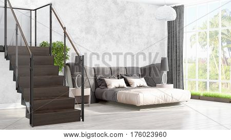 Beautiful modern living room interior with stairway. 3D rendering