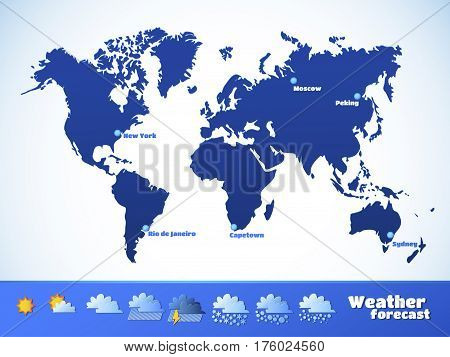 Weather map, forecast icons set. Blue signs