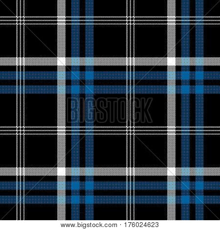 Black check pixel square fabric texture seamless plaid. Vector illustration.