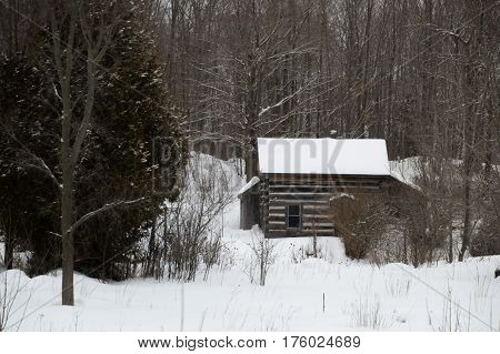 Old Sawn Log Cabin In The Snow In Winter Landscape