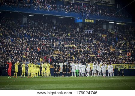 VILLARREAL, SPAIN - FEBRUARY 26: All players during La Liga match between Villarreal CF and Real Madrid at Estadio de la Ceramica on February 26, 2017 in Villarreal, Spain