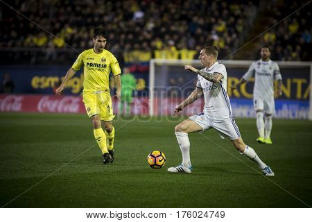 VILLARREAL, SPAIN - FEBRUARY 26: Toni Kroos with ball during La Liga match between Villarreal CF and Real Madrid at Estadio de la Ceramica on February 26, 2017 in Villarreal, Spain