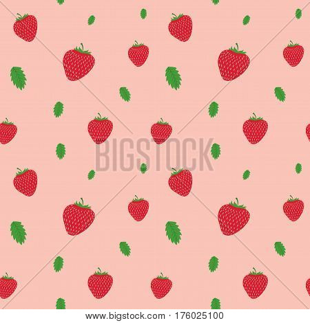 Cartoon fresh fruits in flat style. strawberries seamless pattern. Fruits seamless patterns food summer design wallpaper vector.