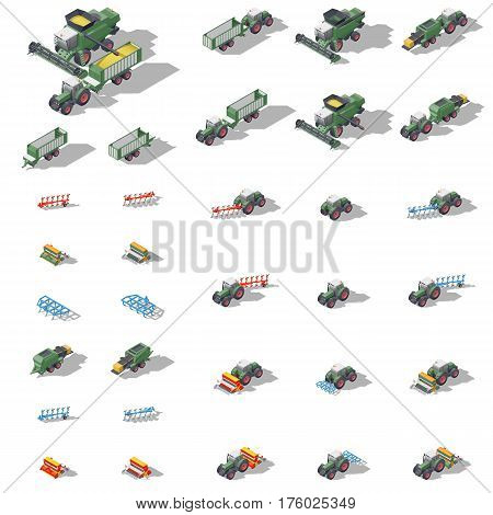 Agricultural machinery isometric icon set vector graphic illustration