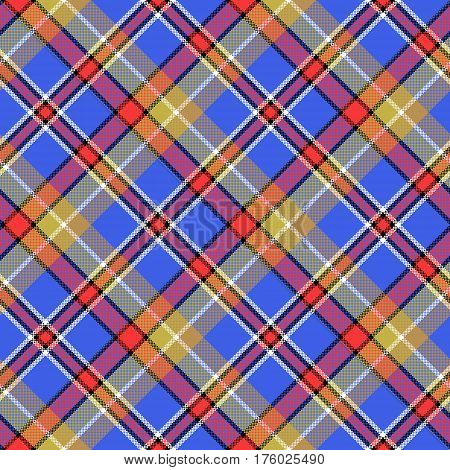 Blue madras diagonal plaid pixeled seamless pattern. Vector illustration.