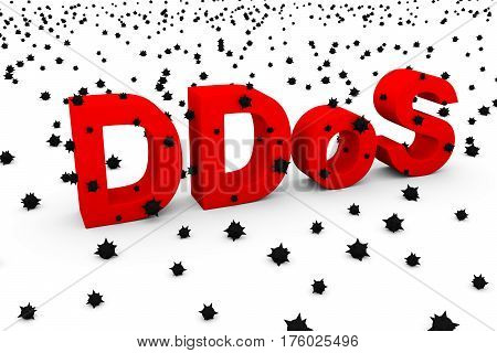 ddos in the form of text, virus 3D illustration