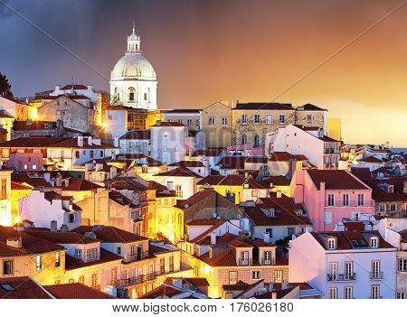 Portugal Lisbon - Old city Alfama at sunrise