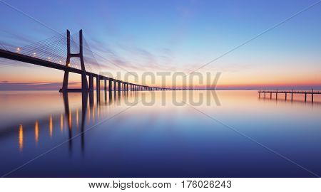 Portugal Lisbon - Vasco da Gama at sunrise